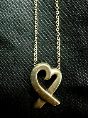 """Auth Vtg Tiffany & Co. Sterling PALOMA PICASSO Loving Heart Pendant NECKLACE 16"""""""