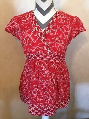 Small Motherhood Maternity Red White Black Blouse Vneck Short Sleeve Ties Pleats