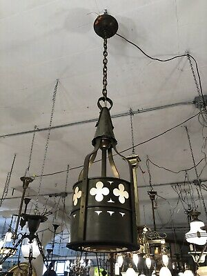 Vintage Ecclesiastical Neo Gothic Ceiling Pendant Light Brass Steel Rewired