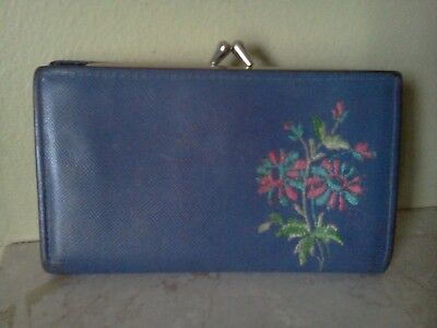 Centra Vintage Wallet with flower embroidery/ Periwinkle? Coin/Change Purse