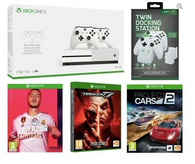 MICROSOFT Xbox One S with Dual Wireless Controllers, FIFA 20, Tekken 7, Project