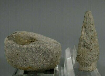 Prehistoric North American Archaeological Grinding Fire Starting Stone & Arrow