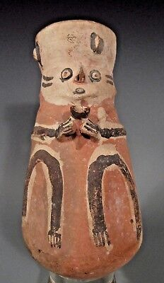 Pre Columbian Peru Chancay Polychrome Pottery  Guardian China Vessel ca. 1000 AD