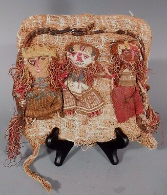Peru Peruvian Central Coast Chancay Fabric Cotton Burial Dolls