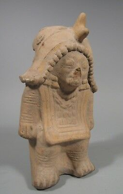 Pre Columbian Ecuador Jamacoaque Shaman Figure Relief Decor 500 BC - 500 AD
