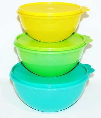 Tupperware Wonderlier Bowls Set of 3 Blue, Green and Yellow / 6, 8 and 12 Cups