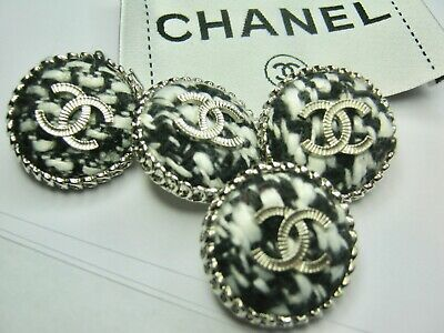 💋💋💋💋💋 Chanel 10 buttons 25mm SET of 10  TWEED,  SILVER CC free shipping