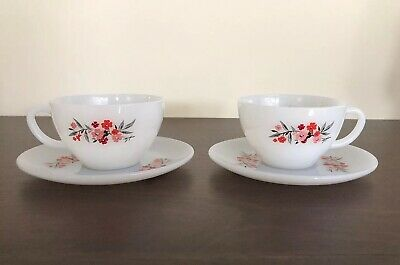 Fire King Primrose Cup And Saucer, Set Of 2