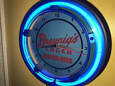 Breunig Lager Beer Bar Man Cave Advertising Blue Neon Wall Clock Sign