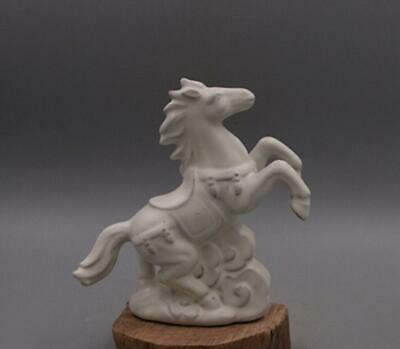 chinese old handmade Your kiln White glazed porcelain horse statue 08517
