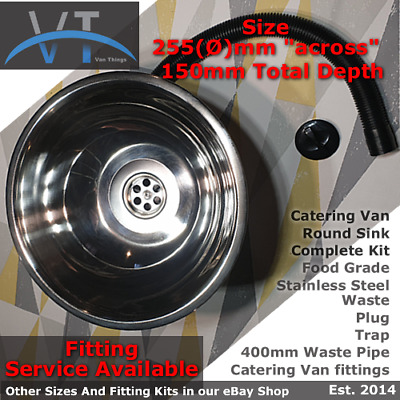 catering Van sink round stainless steel with waste kit