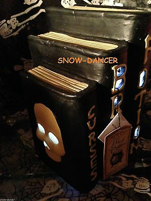 Halloween Ceramic Decor Curses Brews Potions Wicked Books LED Battery Lighted