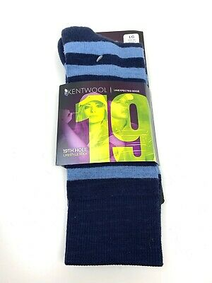 NWT Kentwool Mens Blue Striped Merino Wool 19th Hole Clubhouse Casual Socks L