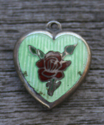 VINTAGE STERLING SILVER PUFFY HEART CHARM - Guilloche Green Enamel & Red Rose