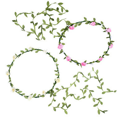 2PCS Boho Flower Crown Headband Hair Wreath Hairband Bridal Wedding Garland