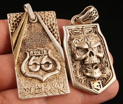 2 Retro Chinese Tibetan Silver Pendant Crucifix Skull Exorcism Collection Gift