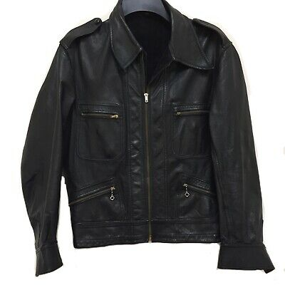 America Pedro Diaz Peruvian Woman Large Leather Jacket Black Suede Double sided