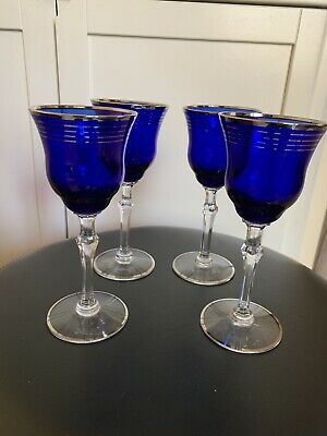 Vintage 1930's Cobalt Blue Louie Glass Stemmed Wine Glasses - Beautiful!