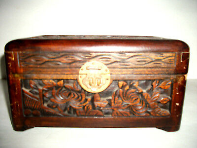 Antique High Relief Wood Carved Chest W/ Brass Lock