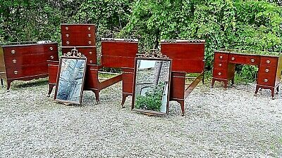 Antique Sheraton Style  8 piece Mahogany Bedroom set Dresser + Chest mirrors etc