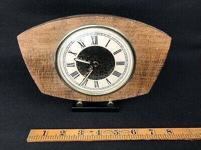Vintage Art Deco Style Mechanical Wood & Chrome Mantle Clock Working VGC
