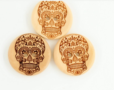 5 Large Sugar Skull Wooden Buttons 2 Hole 30mm Sewing Goth Punk Day of Dead UK