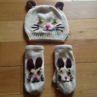 Mini Boden Cream Character Hat & Gloves (Mittens) Set Age 11-14