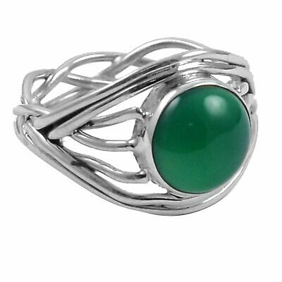 Green Onyx Solid 925 Sterling Silver Ring  Jewelry Size-6.25 AR-1387