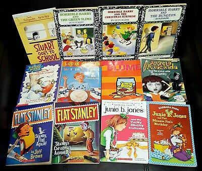 Lot 12 Children's Chapter Books 1st 2nd Grade Junie B. Horrible Harry Judy Blume