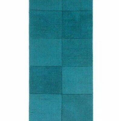 Oakland Teal Blue 100% Wool Squares Rug 60 x 100cm NEW small rug square pattern
