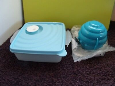 Tupperware NEW Crystalwave Large Square Away Container & Cupcake Holder
