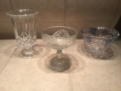 Clear Glass Compote Pressed Glass VTG Vase, Pedistal Candy Dish & Bowl