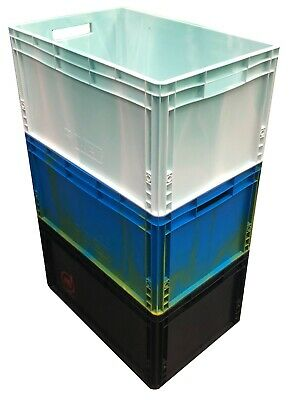 3 x 66 Litre Heavy Duty Plastic Stacking Euro Storage Containers Boxes Crates!!!