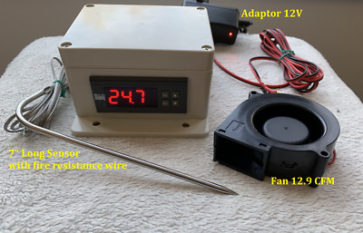 Plug Play Outlet 12V Temperature Controller+Fan Timer Charcoal BBQ Grill Smoker