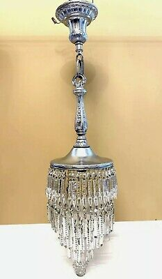 Antique Art Deco Crystal Chandelier Wedding Cake Pendant Silver Hall Pendant