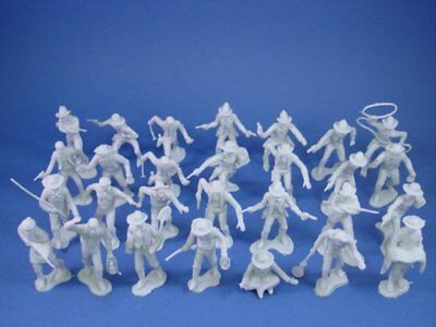 MARX Miners Trappers Cowboys Outlaws GRAY 32 Recast 54mm Figures FREE SHIP