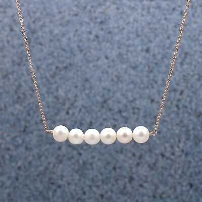 Natural Pearl Beads Gemstone Rose Gold Plated Necklace Wonderful Party Jewelry