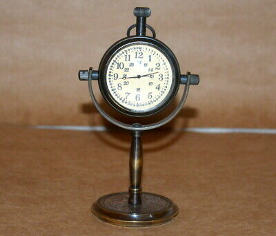 Antique vintage maritime brass watch and clock stand collectible desktop gift