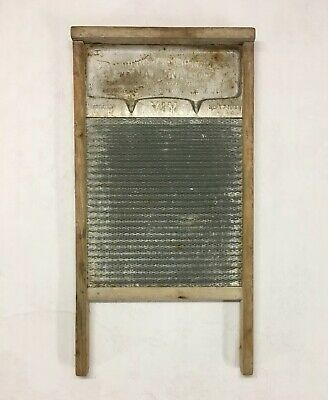 Antique National Washboard Co. No.183 VIM Patent 1915 Metal Wood Wash Board Vtg