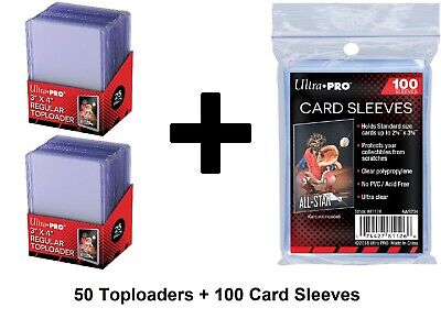 Ultra Pro Top Loaders And Card Sleeves Combo 100 Card Sleeves And 50 Toploaders