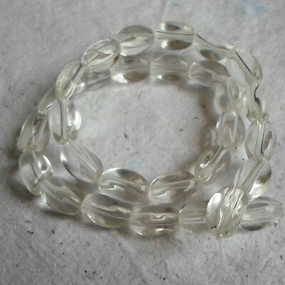 Glass Twisted Bean Beads ~ 10mm Clear