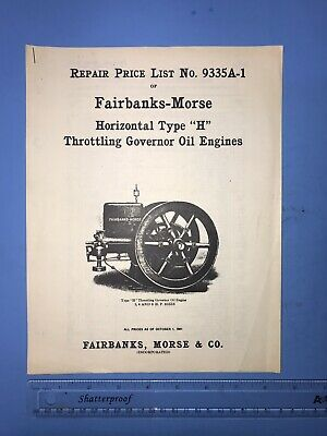 "FAIRBANKS MORSE No. 9335A-1 Horizontal Type ""H"" Throttling Oil Engine Hit Miss"