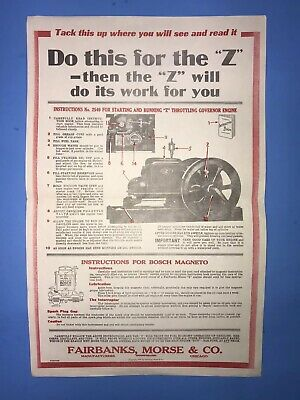 "FAIRBANK MORSE Instructions No. 2549 ""Z"" Chart Bosch Magneto Hit Miss Engine"