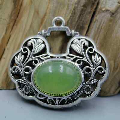 Collectable Miao Silver Handwork Mosaic Agate Beautiful Good Luck Unique Pendant