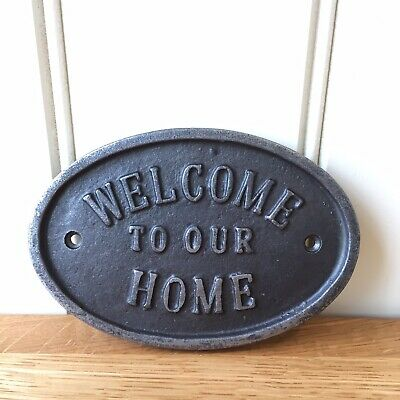 Cast Iron Welcome To Our Home Oval Plaque Wall Door Sign Vintage Antique