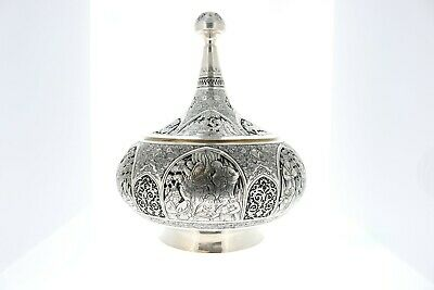 Persian Solid 84 Silver Sweet Candy Box with lid