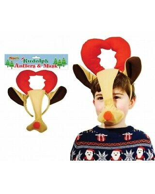Bulk Wholesale Job Lot 24 Plush Rudolph Reindeer Antlers and Mask Christmas XMAS