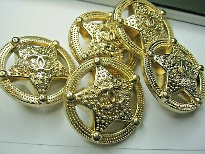 Chanel  buttons  set of 5 sz 25mm lot of 5  GOLD CC LOGO DALLAS STAR