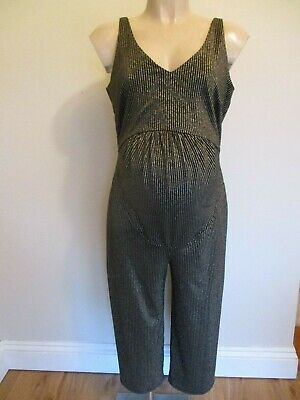 George Maternity Gold & Black Stripe Jumpsuit Evening Outfit Trousers Size 12