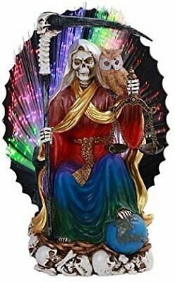 Pacific Giftware PT Seated Santa Muerte Saint Death Grim Reaper LED Color...